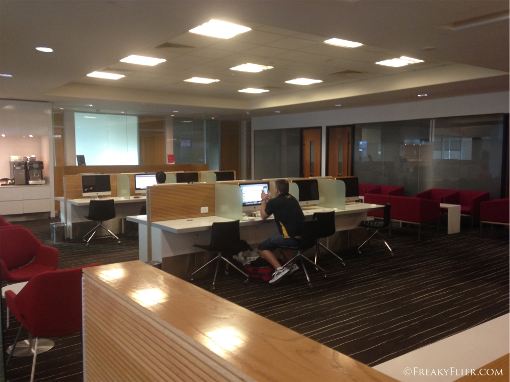Work areas at the Qantas Club Brisbane