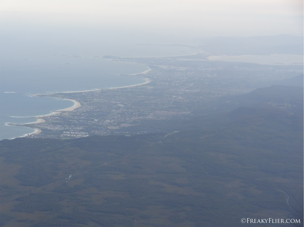 Descent into Sydney with Wollongong in the background