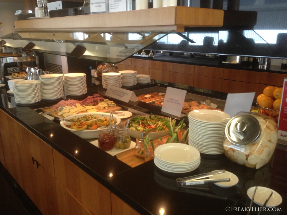 The buffet in the Business Class Lounge