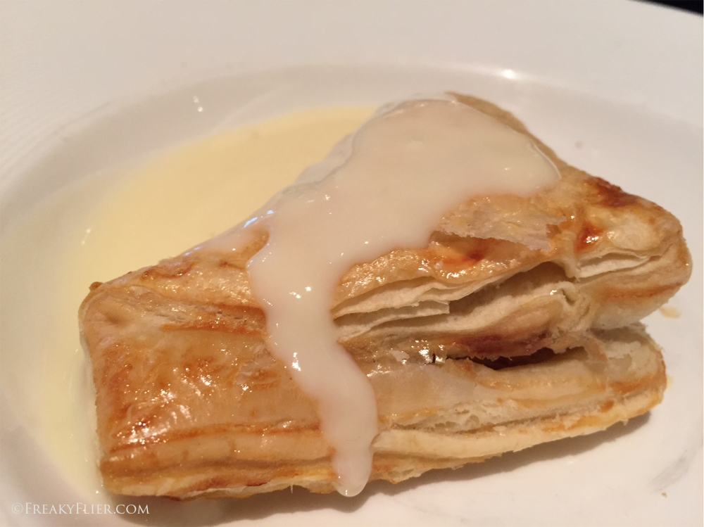 Walnut, Pear and Chocolate Turnover in Vanilla Sauce