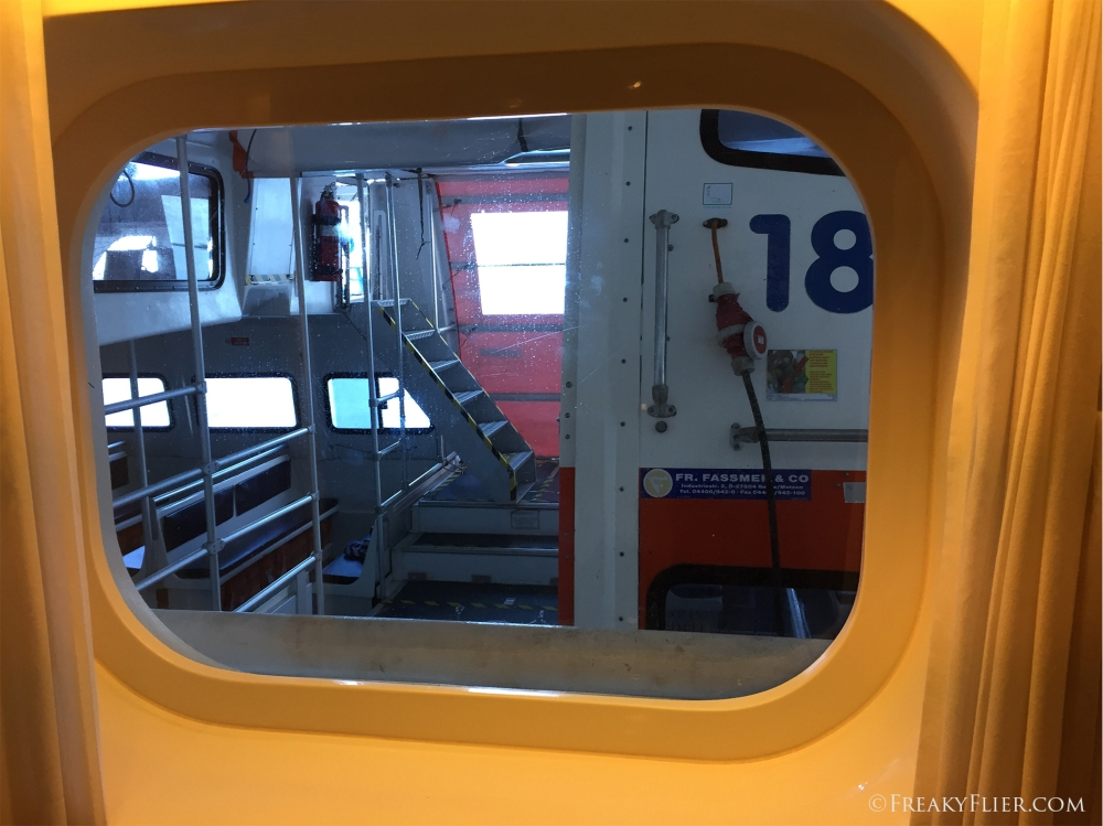 Our view from the window of the lifeboat