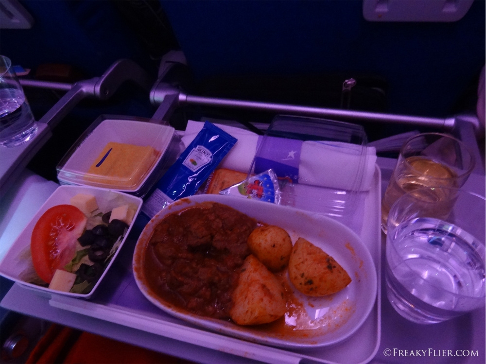 Dinner on board LATAM from Auckland to Santiago