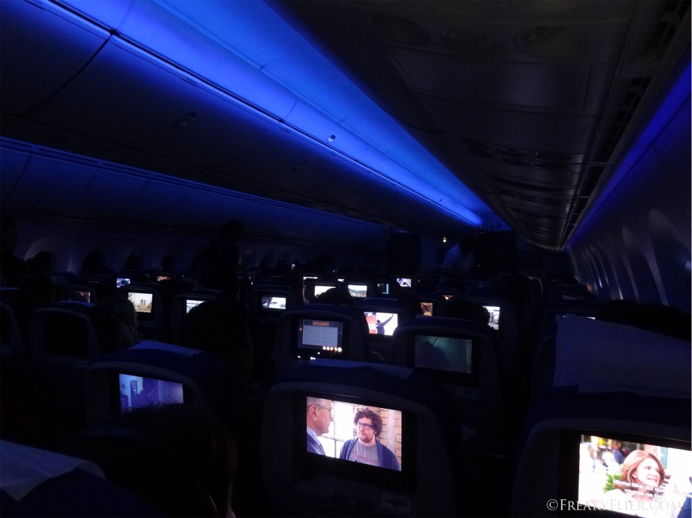 Dreamliner LED lights while flying through the night