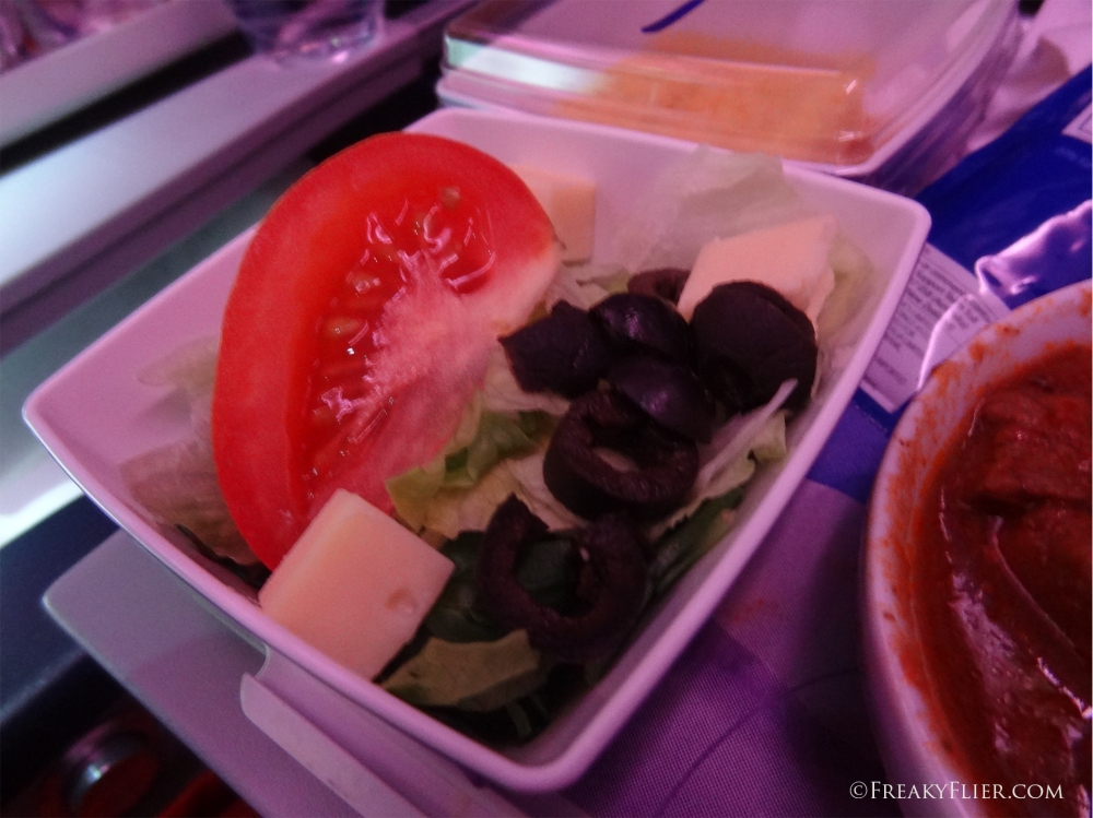 Side salad dinner on board LATAM
