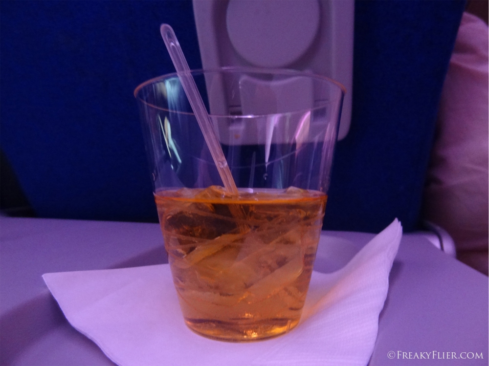 Whiskey on ice - nightcap on board LATAM
