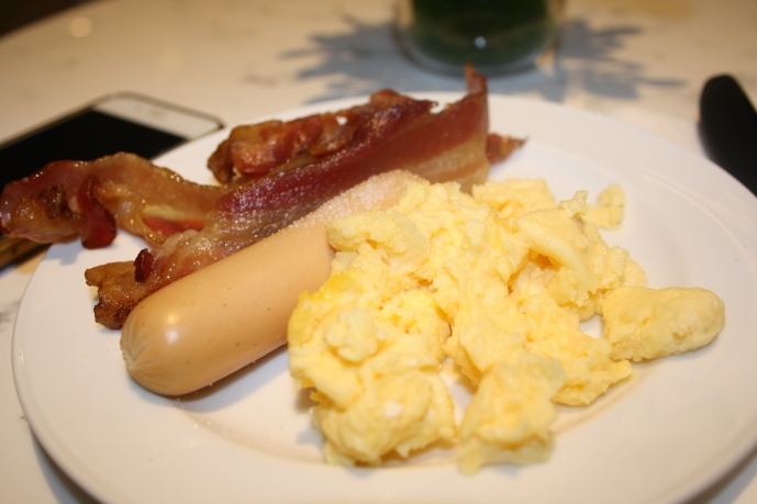 Breakfast, Bacon, Sausage and Scrambled Eggs